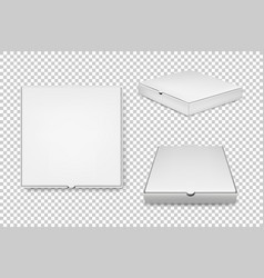 realistic white pizza boxes icon set vector image