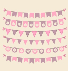 Retro bunting set patel pink scrapbook design vector image
