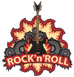 rock and roll banner with guitar speaker and fire vector image