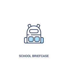School briefcase concept 2 colored icon simple vector