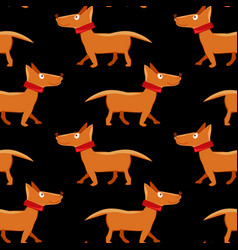 seamless pattern with repeating dog on black vector image