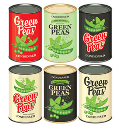 Set cans with various labels for green peas vector