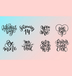Set of lettering quotes about love vector