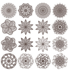 set of mandalas isolated on white vector image