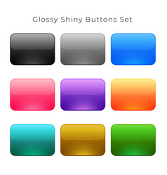 shiny glossy empty buttons set vector image