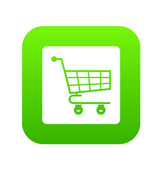 shopping cart icon digital green vector image