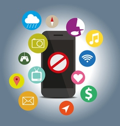 Signes icon do not with function mobile phone vector