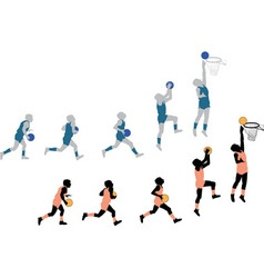 Silhouettes Playing Basketball Small vector