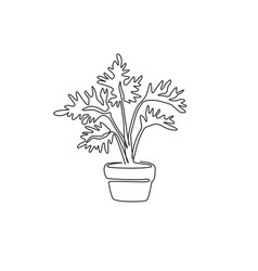 single continuous line drawing potted cute vector image