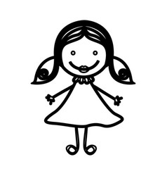 sketch silhouette front view girl with hair vector image