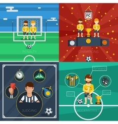 Soccer Flat Icons Composition vector image