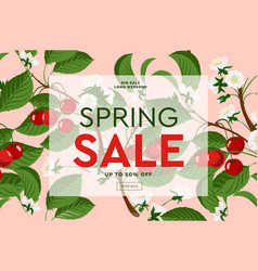 spring sale floral banner with blooming pink vector image