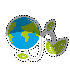 Sticker planet with power cable and leaves vector