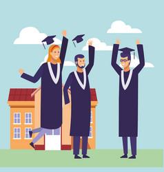 students graduation cartoon vector image