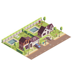 suburban buildings community composition vector image