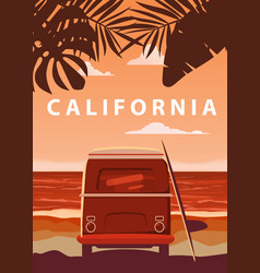 surfer orange bus van camper with surfboard on vector image