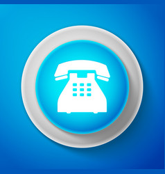 telephone icon on blue background landline phone vector image