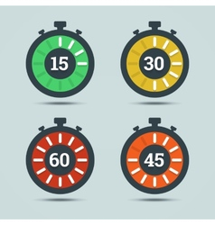 Timer icons with color gradation and numbers vector