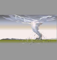 tornado in wild nature landscape background vector image