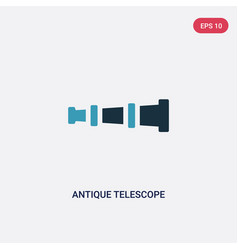 two color antique telescope icon from people vector image