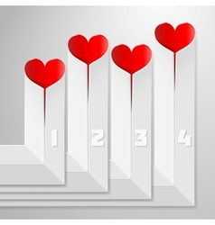 Valentines Day infographics with hearts on vector image