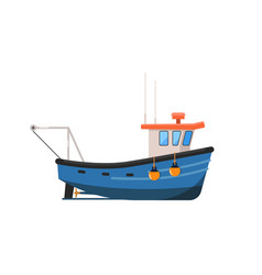 Vintage fishing trawler isolated on white icon vector