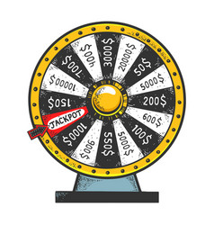 wheel fortune gambling device sketch vector image