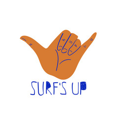 with surf hand gestue hang loose vector image