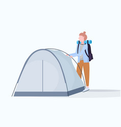 Woman hiker camper installing a tent preparing for vector