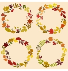 Wreaths of autumn leaves flowers and herbs vector