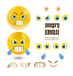 yellow angry smiley emoticons set emoji vector image