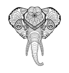 Zentangle stylized elphant head Sketch for tattoo vector image