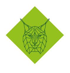 abstract geometric lynx head logo vector image vector image