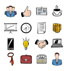 business icons set cartoon vector image