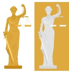 Themis Femida statue in two vector image vector image