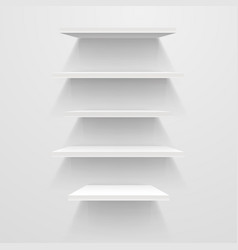 white empty shelves on white wall mockup vector image vector image