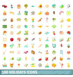 100 holidays icons set cartoon style vector image