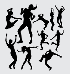 Aerobic dance silhouettes vector image