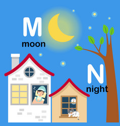 alphabet letter m-moon n-night vector image vector image