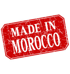 Made in morocco red square grunge stamp vector