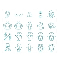 Plastic surgery icons breast augmentation vector image vector image