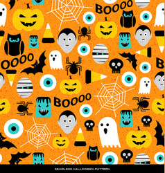 Seamless pattern of various halloween icons vector