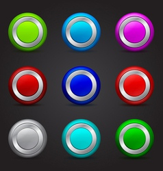 set of round buttons with glossy effect vector image vector image