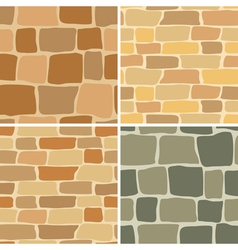 set - stone wall - seamless patterns vector image