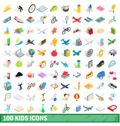 100 kids icons set isometric 3d style vector image