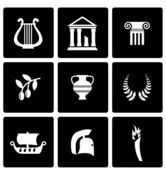 black greece icon set vector image vector image