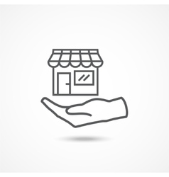 Shop on hand icon vector image vector image