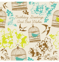 Birthday Swallows Card vector image