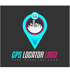 creative gps city locator logo design for brand vector image