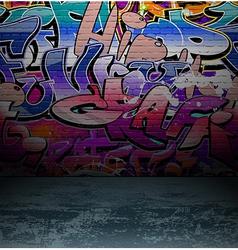 Graffiti wall urban street art painting vector
